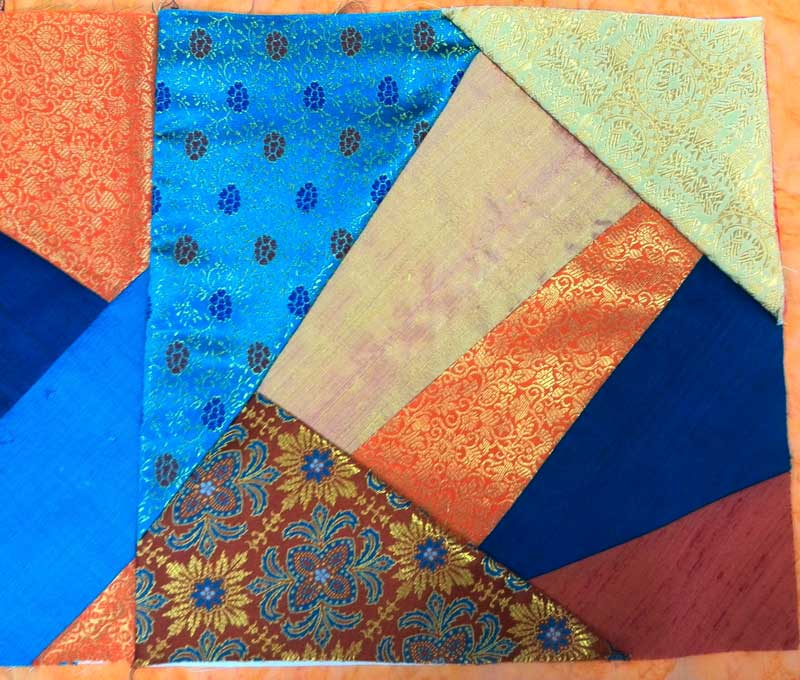 Crazy quilt table runner with silk fabrics from Treasures of the Gypsy