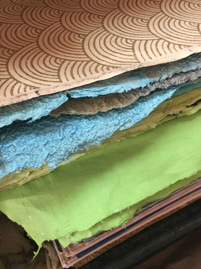 Sheets of handmade paper