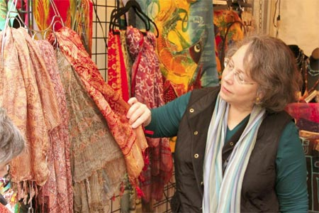 Batik Tambal silk scarves at the Artistic Artifacts booth for the 2014 Downtown Holiday Market