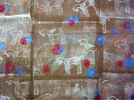 Petroglyph theme fabric by Judy Gula