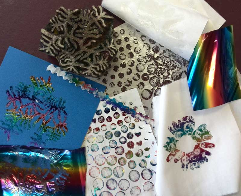 Supplies and some results from our How Do I...Foil Paper and Fabric demo evening