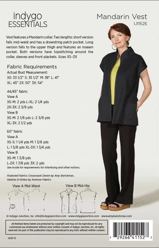 Pattern information, Mandarin Vest by Indygo Essentials