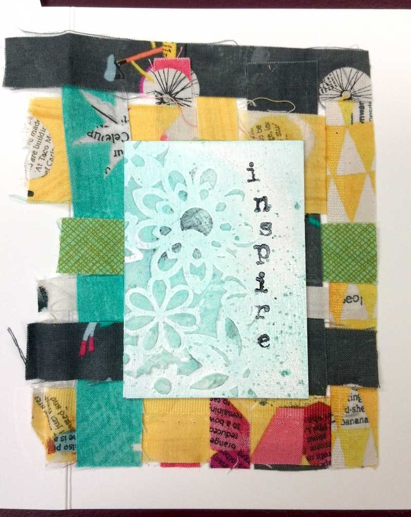 Inspire greeting card by Judy Gula using woven fabric strips and Artist Trading Cards