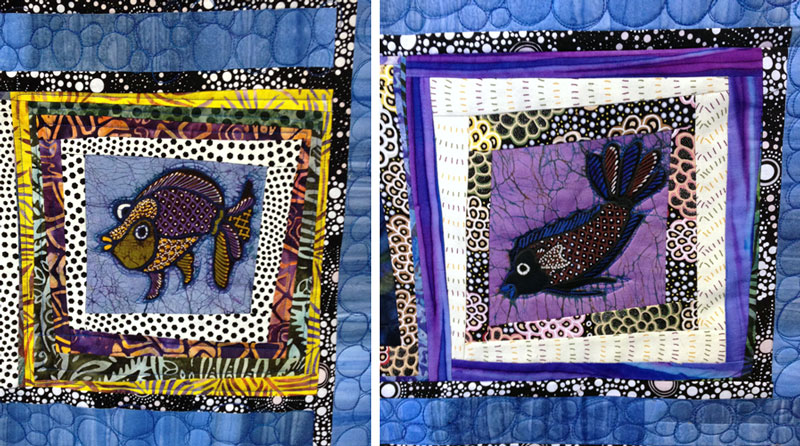 Fish cut from batik panels by Jaka center wonky log cabin quilt blocks by Judy Gula