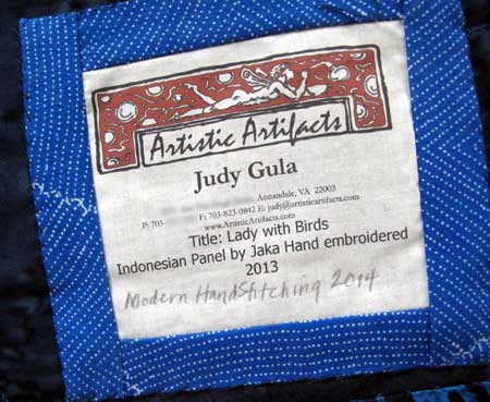 Judy Gula art quilt label