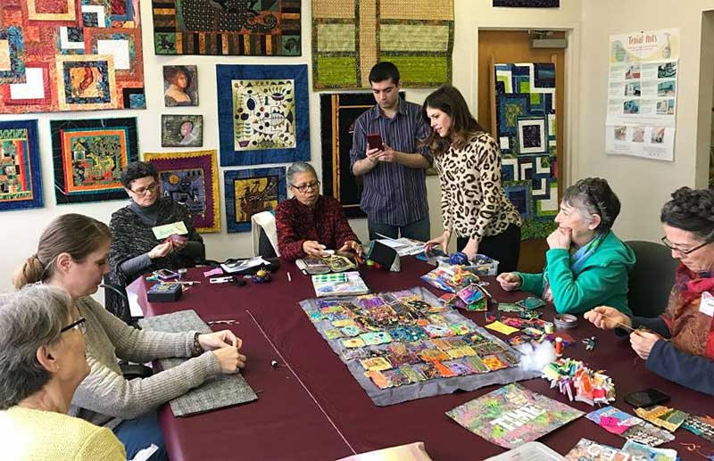 Meahgan Mooney meeting Artistic Artfacts customers and members of JAMs