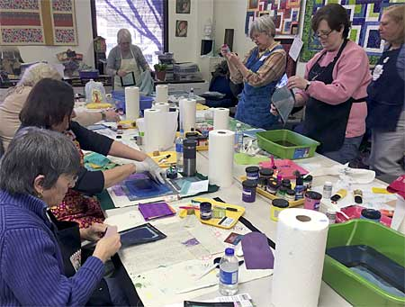 Printing with Thermofax Screens class at Artistic Artifacts, taught by PG Fiber2Art