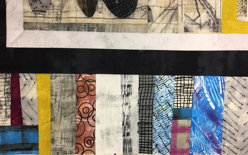 Janet Green mixes fabrics she created in classes at Artistic Artifacts with Marcia Derse fabrics