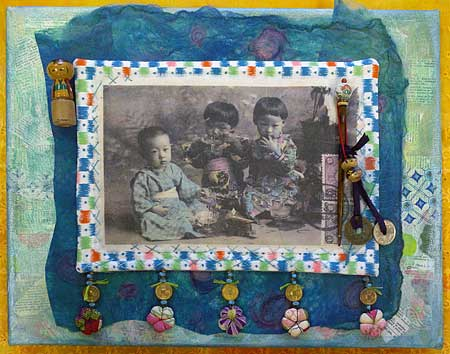 Japanese children: embellished art quilt on canvas by Judy Gula