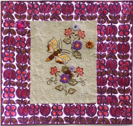 click for a larger view--Vintage Found Floral embellished art quilt by Judy Gula