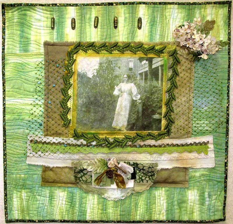 The Lady in the Garden, an art quilt by Judy Gula using hand-dyed and vintage materials