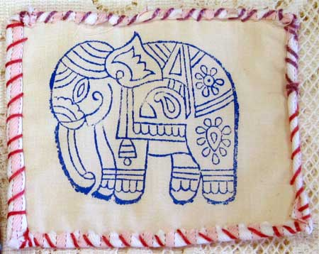 Judy Gula small elephant print quiltlet ready for stitching