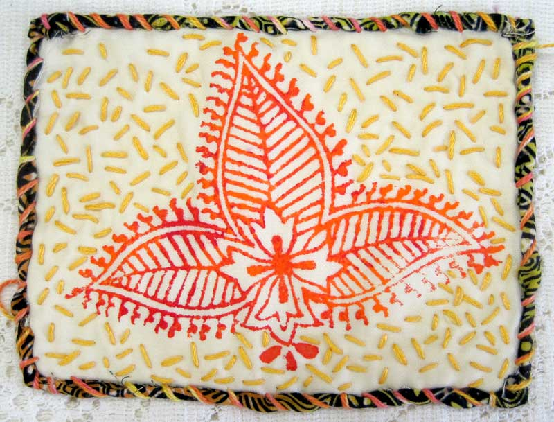 Judy Gula small quilt: rolled and stitched edges
