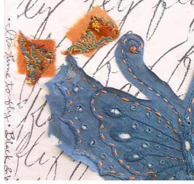 Detail, Butterfly stitch meditation art quilt by Judy Gula of Artistic Artifacts