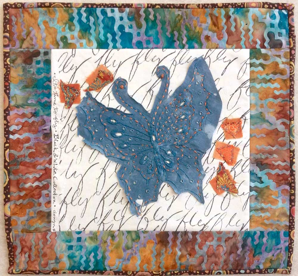 Butterfly stitch meditation art quilt by Judy Gula of Artistic Artifacts