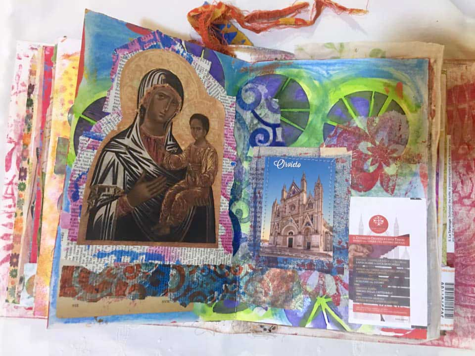 An inside spread from art journal created in Italy by Artistic Artifact's Judy Gula