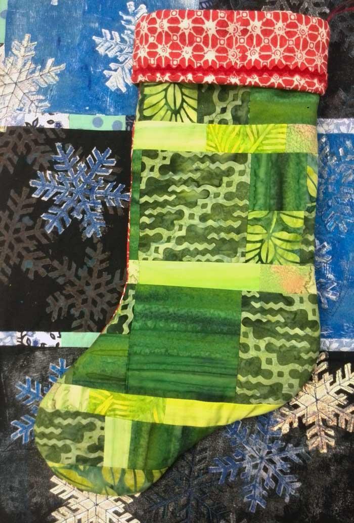 Julie Middleton's completed holiday stocking, reverse side