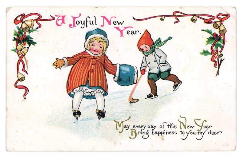 Vintage postcard celebrating  the New Year image