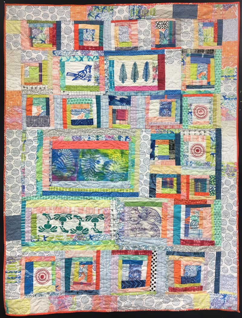 Block Printed Scrappy Quilt by Judy Gula