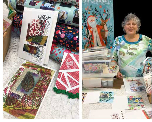 Judy Gula of Artistic Artifacts demonstrating how to add foil accents to handmade cards