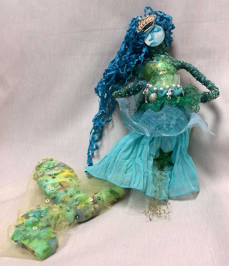 Mermaid art doll by Judy Gula of Artistic Artifacts