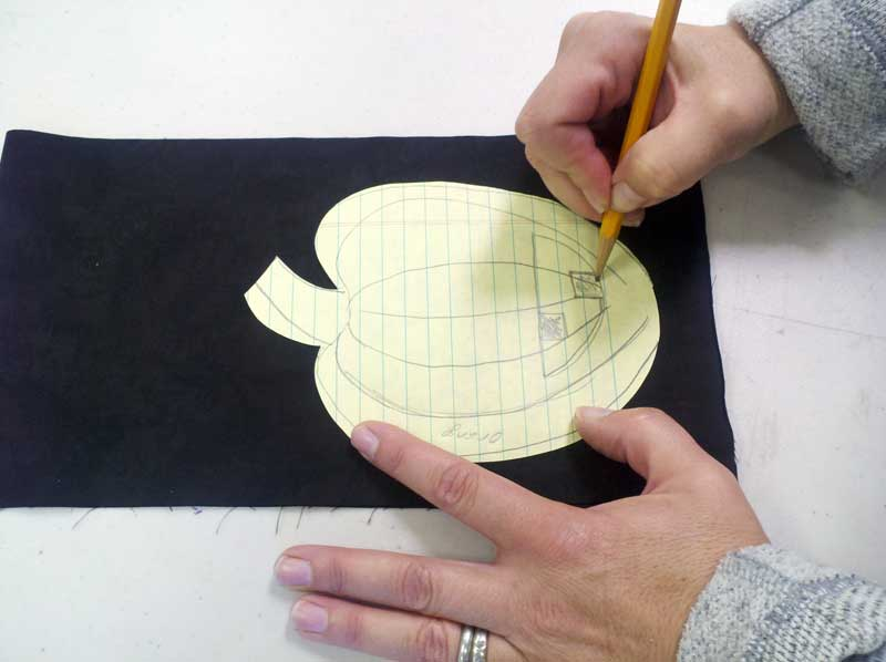 Julie Middleton drafting her pumpkin pattern