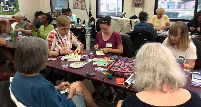 """Participants in the July session of """"How Do I... Create a Stitch Meditation?"""""""