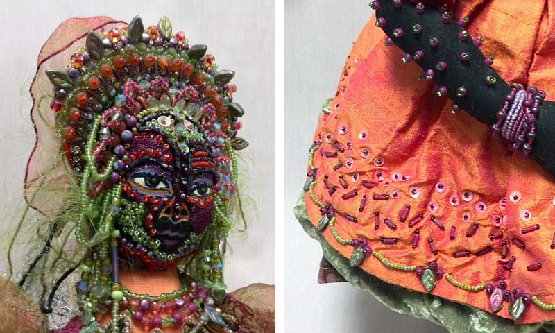 Detail, fiber/beaded art doll by Kathlyn J. Aviles