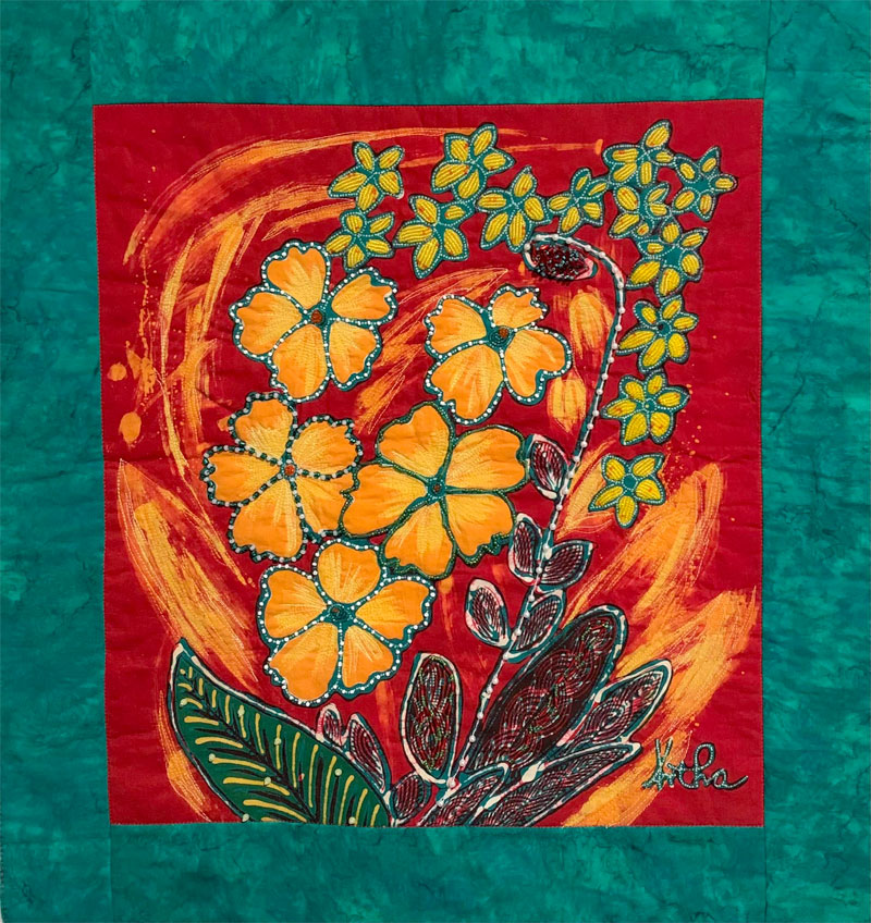 Kathy Edwards embellished a handdrawn batik panel from Artistic Artifacts with beading