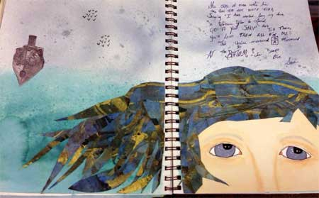 Mermaid journal pages by JAMs member Kathie