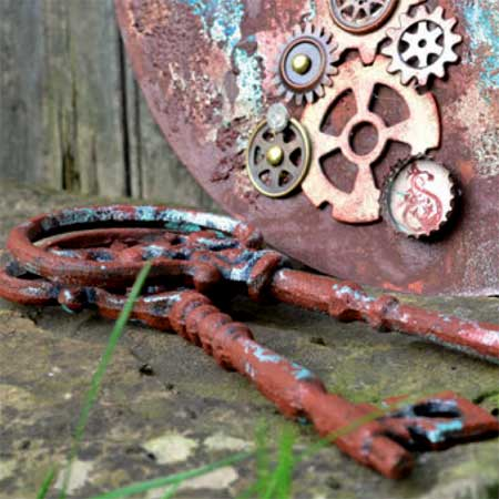Items painted with Rusty Paper and Rust Patina are weather resistant