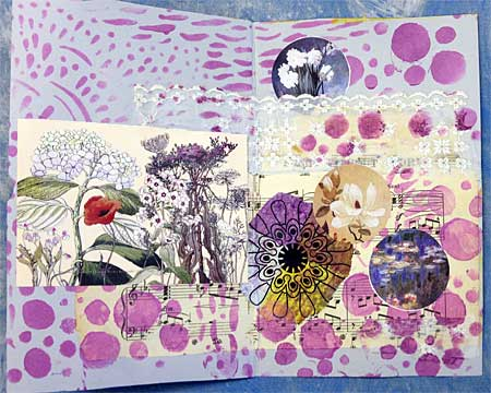 Art journal page by Judy Gula with lace and trim