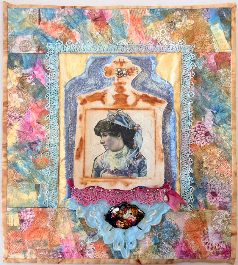 Lady with Brooch mixed media art quilt by Judy Gula