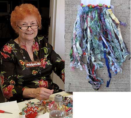 Rosalie Lamanna stitches beads onto her prayer flag (inset)