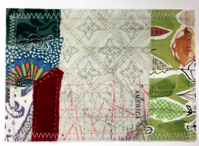 Fabric postcard by Laura Jane for Judy Gula of Artistic Artifacts