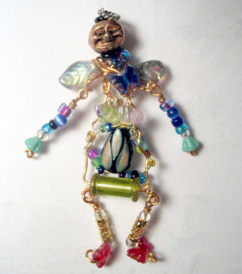 Beaded art doll by Leslie Brier