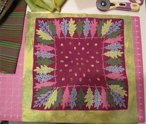 Vintage leaf hankie with green hand-dyed fabric