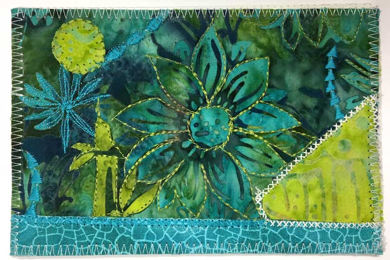 Fabric postcard by Lee for Judy Gula of Artistic Artifacts