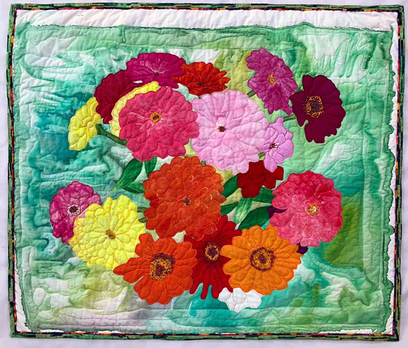 Handpainted art quilt by Linda Cooper