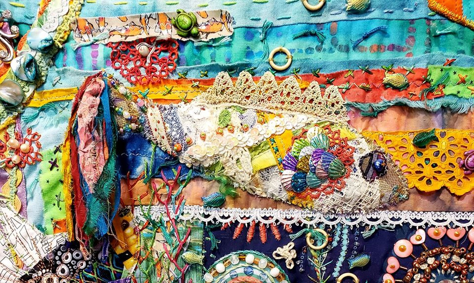 Stitched fiber collage fish by Linda Morgan