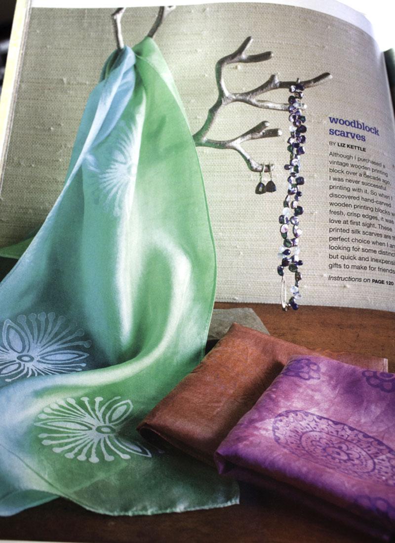 Liz Kettle of Textile Evolution's block printed silk scarves