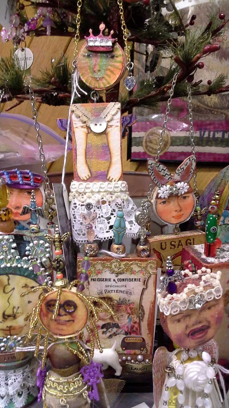 Mixed media assemblage art dolls by Linda Morgan