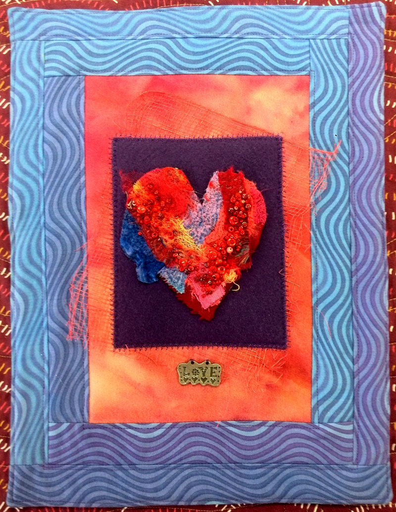 Needlefelted and beaded heart Love art quilt by Judy Gula of Artistic Artifacts