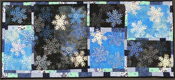Snowflake Block Printed Art Quilt