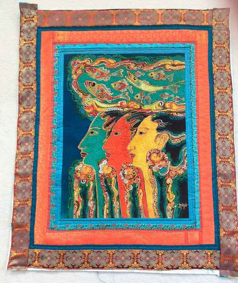 Mahyar batik panel bordered with silk fabrics