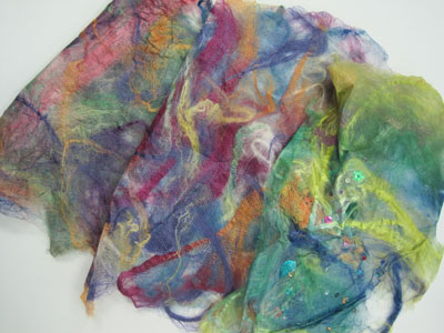 Sheets of completed silk paper