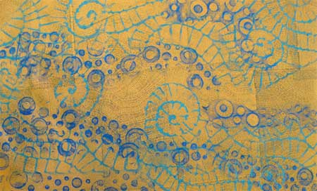 Judy Gula final layer with rubbing texture, creating map-inspired fabric