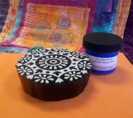 March Printed Fabric Bee prize: wooden printing block, textile paint and foam printing mat