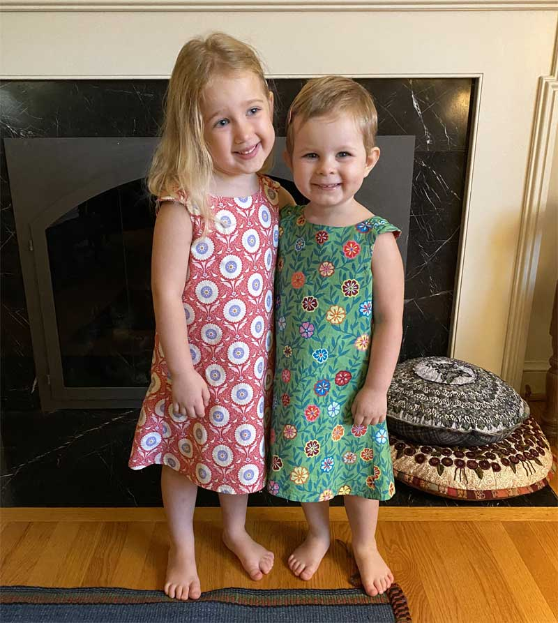 Nancy McCarthy's granddaughters in their Urban Princess dresses