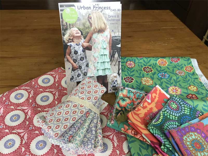 The Urban Princess pattern by Olive Ann Designs with the Tilda and Tula Pink fabric that Nancy McCarthy selected